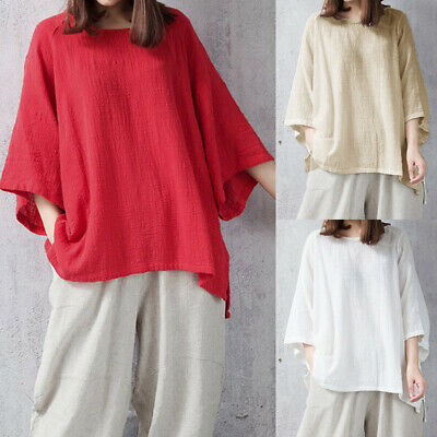 Womens Batwing Sleeve Tops Loose Cotton linen Blouse Casual Pullover T-Shirt
