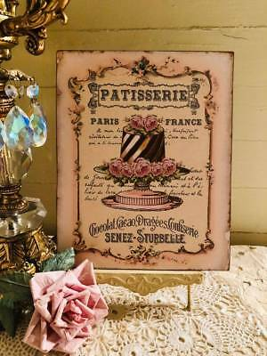 Shabby Chic Plaque ~ Vintage Style Bakery Print ~ French Cake, Paris