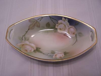 "Vintage PSAG Bavaria China Relish Celery Dish Oval 8.25"" Green White Rose Signed"