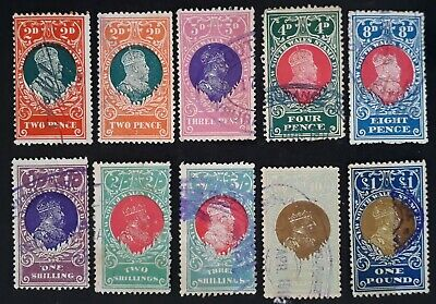 1909/24- NSW Australia Lot of 10 x King Edward V11 Stamp Duty stamps Used
