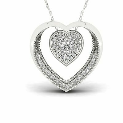 1/5ct TDW Diamond Double Heart Necklace in Sterling Silver - White