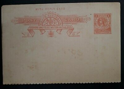 1893- South Australia 1d red on Brown Pre printed Post Card with Reply Card Mint