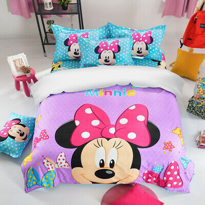 Duvet Cover Bedding Set Mickey Minnie Mouse Single Double King Size Pillow Case