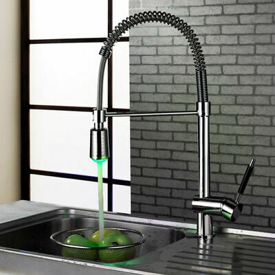 LED Swivel Kitchen Sink Faucet with Sprayer Single Lever Handle Chrome Mixer Tap