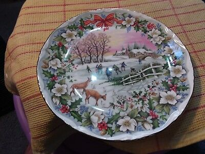 Plate - Royal Albert - The Skating Pond - 8 Inch - Artist Fred Errill 1995
