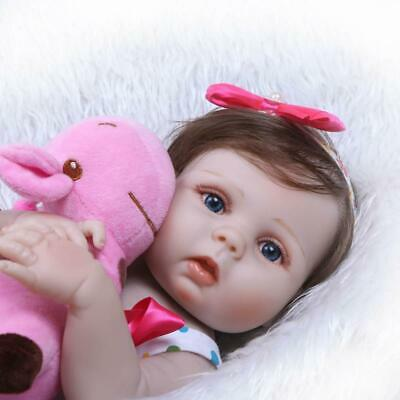 "Washable 23"" Reborn Baby Doll Girl Newborn Size Lifelike Full Body Soft Silicone"