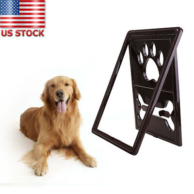 """18"""" x 14"""" 2-Way Magnetic Lockable Pet Screen Door for M & L Size Dogs Cats Brown"""