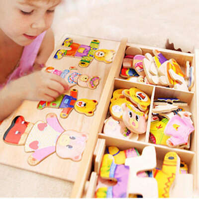 Wooden Baby Bear Changing Clothes Puzzle Set Kids Educational Toys Gift H SKF