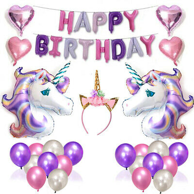 Self-Inflating Happy Birthday Balloons Banner Bunting+Unicorn+Latex/Foil Balloon