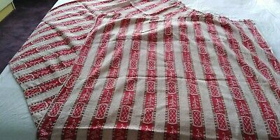 retro vintage 50's/60' pair of red striped and floral cotton curtains