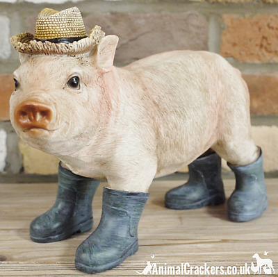 Large 30cm novelty Pig in Wellies Wellingtons ornament decoration pig lover gift