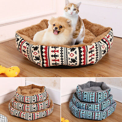 Small Pet Dog Puppy Cat Printed Warm Bed House Plush Cozy Nest Mat Pad Size S-L