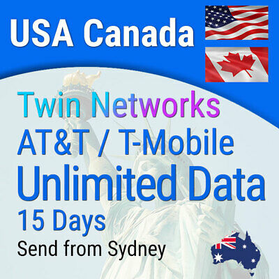 USA Canada (incl Hawaii) 15 days Travel Data Sim card Unlimited Data, Plug-to-go