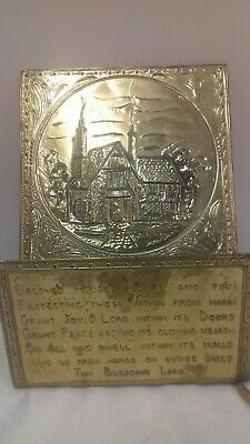 Vintage Wall Mountable Brass Letter Holder/ Rack With Poem On The Front  (D7)