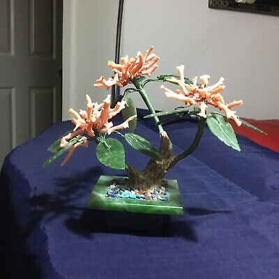 Vintage Rare Chinese Coral And Carved Jade Bonsai Tree