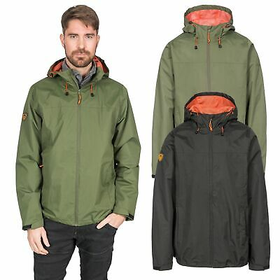 Trespass Kelty Mens Waterproof Jacket Black & Green Rain Coat With Hood