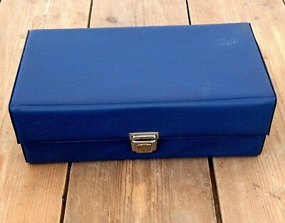 Small Vintage Retro Audio Cassette Tape Storage Box Case - Blue