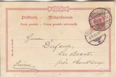 GERMANY. 1890/Freiburg, ten-pfennigs PS card/abroad mail.