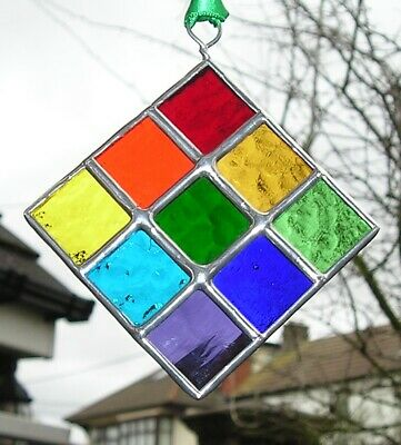 Stained Glass Rainbow Diamond of Squares, panel Abstract / Geometric Suncatcher,