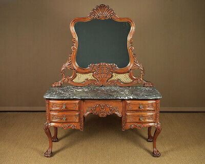 Antique Carved Oak & Marble Top Dressing Table c.1900.