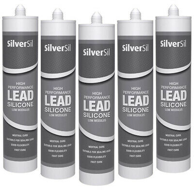 5 x Silicone Sealant Lead Grey - Silversil Roof Flashing Anthracite Mastic Seal