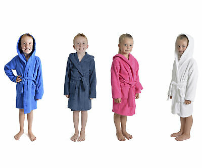 Kids 100% Cotton Hooded Terry Towelling Bath Robe Gown