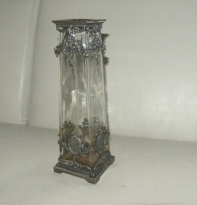 ancien vase verre decor  laiton 19eme  27 cm
