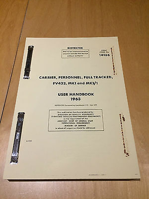 FV432 CARRIER, PERSONNEL, FULL TRACKED MK1 and MK1/1 - 1963 USER HANDBOOK 1 ONLY