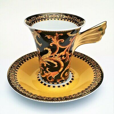 Versace 'Barocco' Flat Coffee Cup & Saucer w/ Wing Handle by Rosenthal