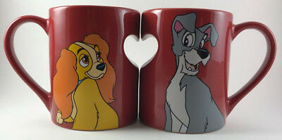 Disney Parks Lady and the Tramp Romantic Heart Ceramic Mug Set EUC