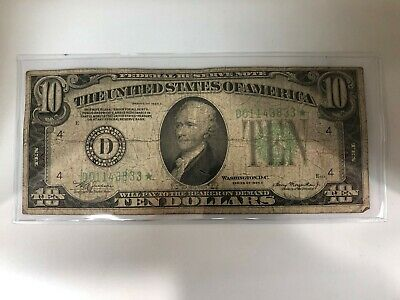 1934 A $10 Dollar Bill  Star Federal Reserve Note Old Paper Money
