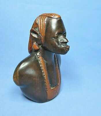 Vintage Small Hand Carved Bust of African Traditional Tribes Man