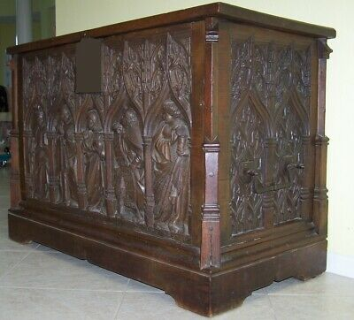 Very Rare 15th C. French Flamboyant-Gothic Carved Walnut Chest Ornate Iron Lock