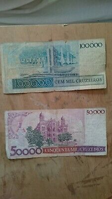 Set Brazil Banknotes 50000 and 100000 cruzeiros year 1987 in G condition