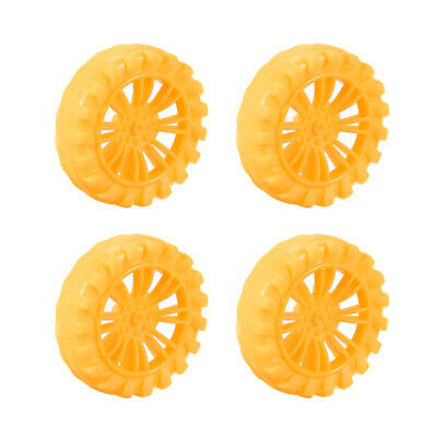 4pcs HB452AH 45mm Dia 2 Inner Hole Dia 12mm Thick Rubber Toy Car Wheel Yellow