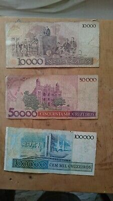 Set Brazil Banknotes 10000,50000 ,100000 cruzeiros year 1987 with stamps cond.G