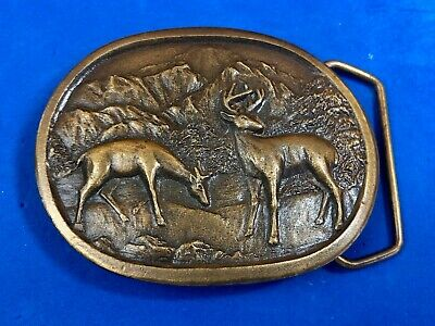 vintage two deer in nature belt buckle by Indiana metal craft - brass tone?