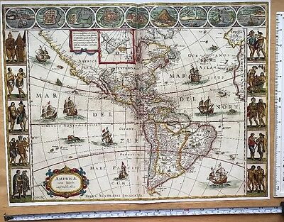 Historic Antique vintage Blaeu Map of the New World, America, 1600's: REPRINT