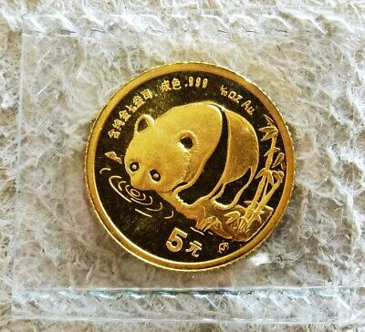 1987 Gold Sealed China 5 Yuan Panda 1/20 Oz Coin Gem Uncirculated