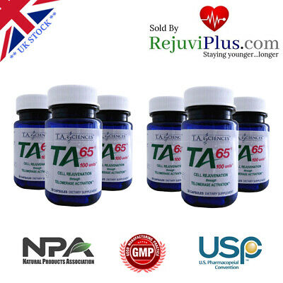 TA65 MD Anti Aging Astralagus Stop Cellular Aging via Telomerase Six Bottles!