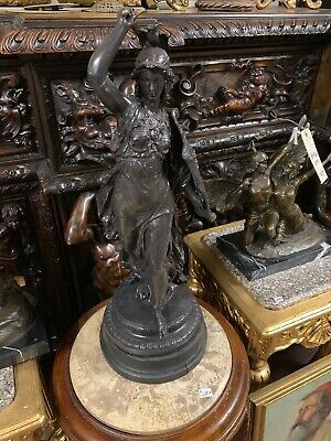 ANTIQUE Metal sculpture of female warrior holding sword and shield