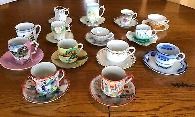 Vintage Bone China Tea Cups and Saucers- Lot of 14 Decorative Collectible