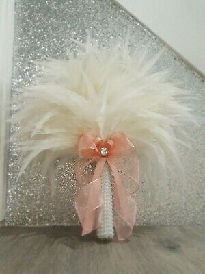 Feather fan bouquet for bride or bridesmaid s,  Custom made to order