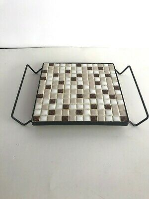 Ceramic Mosaic RETRO Mid-Century Modern Tile Trivet Hot Plate with Handles Feet