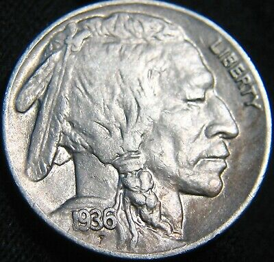 Nice 1936-D BUFFALO NICKEL 5¢! FG49MQ