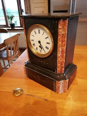 Victorian Antique Black Slate & Marble Mantel Clock.