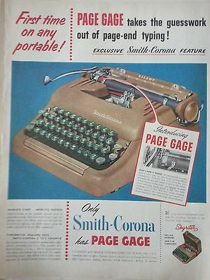 Collectibles 1952 Vintage Smith Corona Typewriter Skywriter Page Gage Original Print Ad Sophisticated Technologies