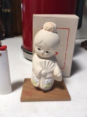 Vintage Japanese Geisha Girl Ceramic Figure Doll with Stand Made In Japan
