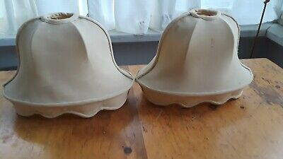 2 Exquisite Vintage Victorian Ivory French Silk Lamp Shades