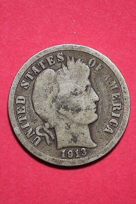 1913 P Barber Liberty Dime Silver Exact Coin Pictured Flat Rate Shipping OCE 233